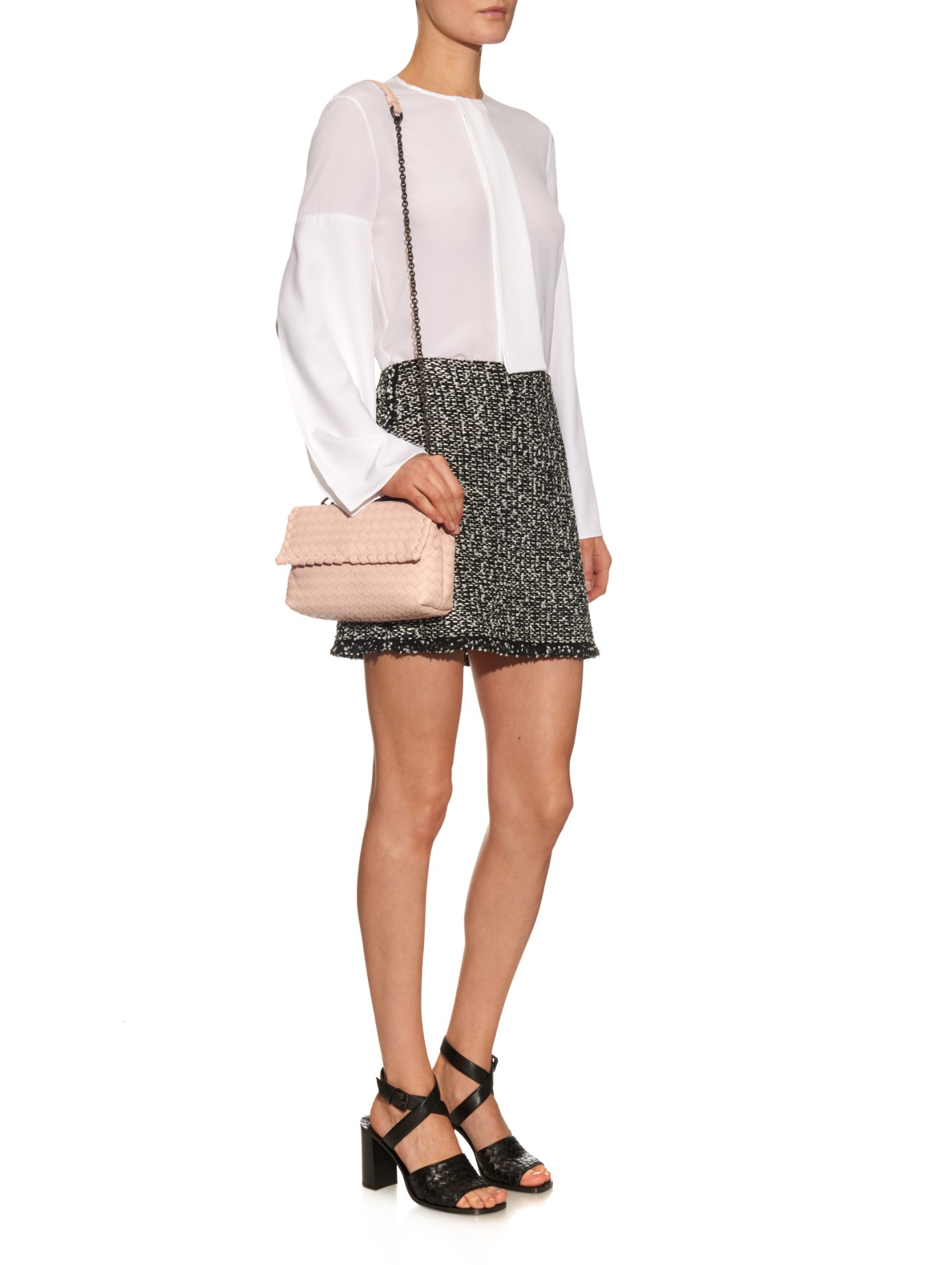 cd793009a1 Bottega Veneta Baby Olimpia Intrecciato Leather Shoulder Bag in Pink ...