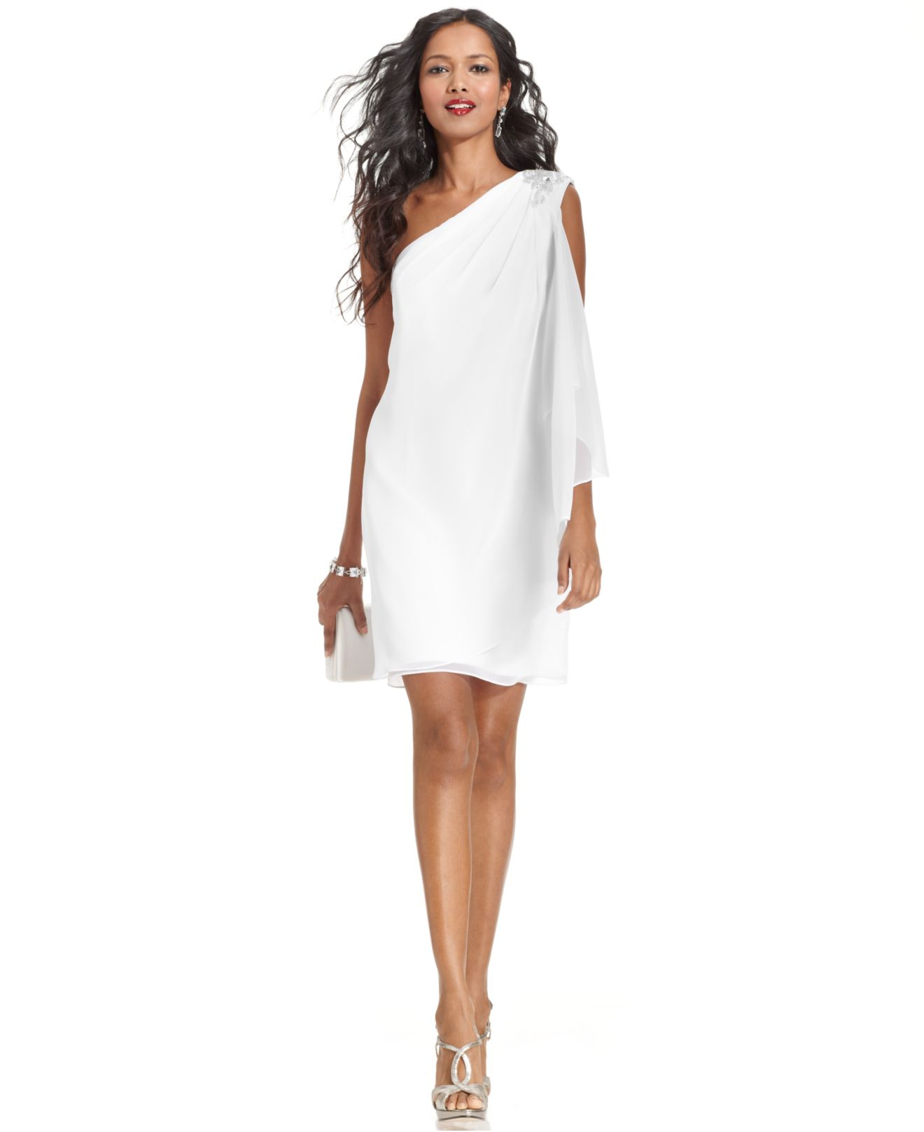 Js boutique One-shoulder Jeweled Dress in White | Lyst