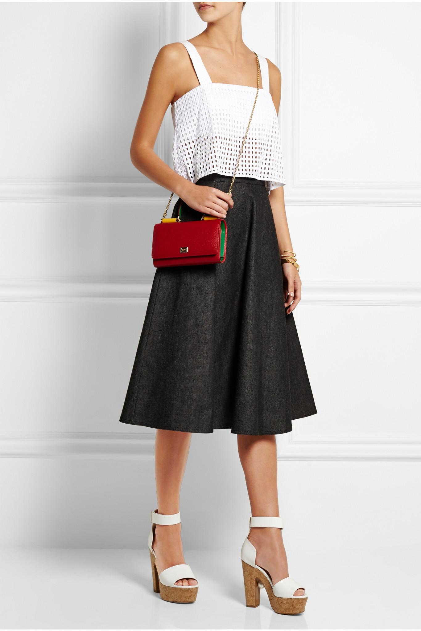 Dolce   Gabbana Lipstick Textured-leather Shoulder Bag in Red - Lyst 09fbb3d2d15d0