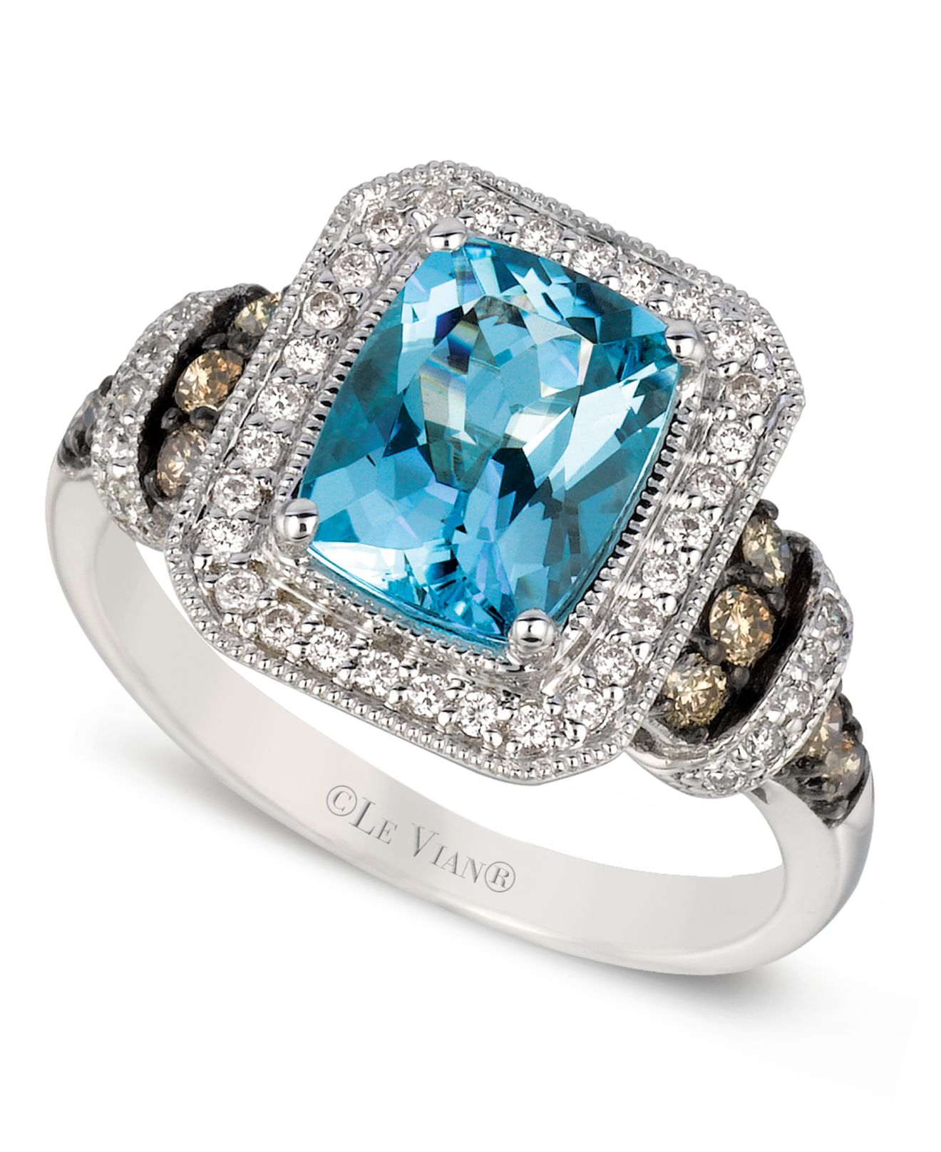 Aquamarine And Chocolate Diamond Ring