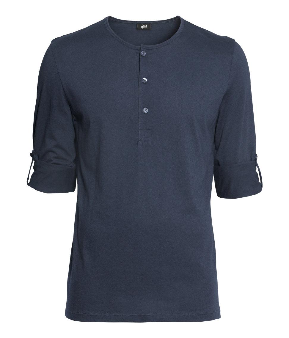 H m henley shirt in blue for men lyst for H m mens henley t shirt long sleeve