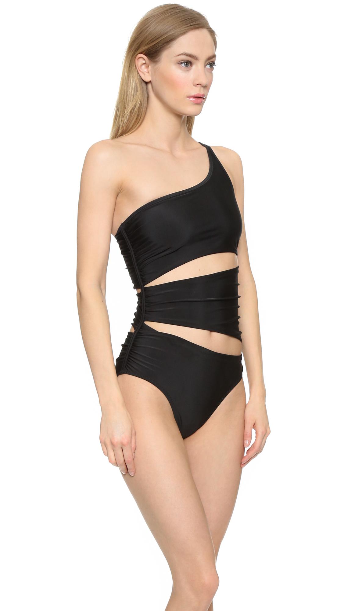 fe4cba2982422 Lyst - adidas By Stella McCartney One Shoulder Swimsuit - Black in Black