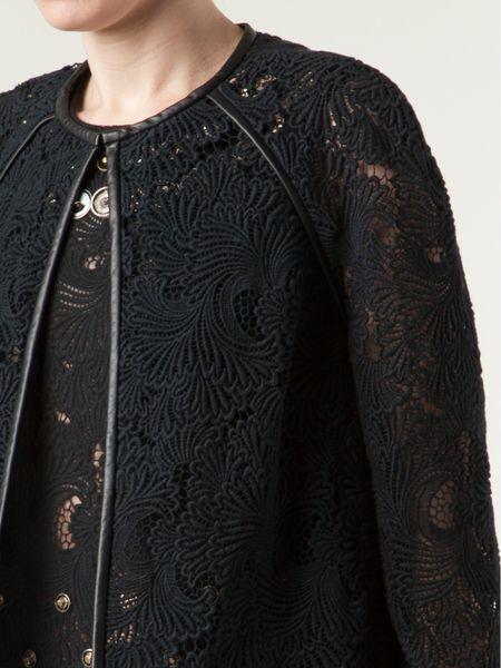 Monique Lhuillier Guipure Leather Trim Jacket In Black Lyst