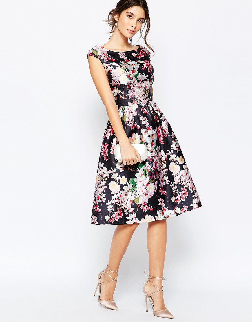 chi chi london allover floral midi dress with keyhole back. Black Bedroom Furniture Sets. Home Design Ideas