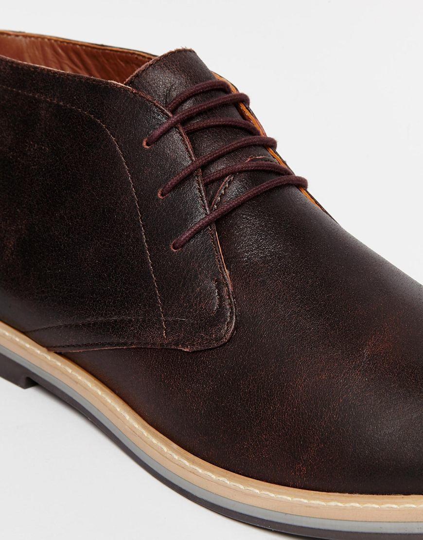 Frank Wright Barnet Leather Chukka Boots In Red For Men Lyst