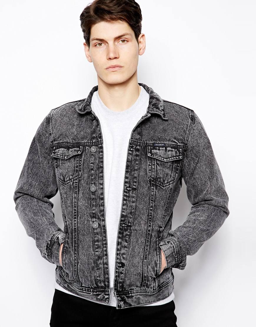 Pull&ampbear Denim Jacket in Acid Wash in Gray for Men | Lyst