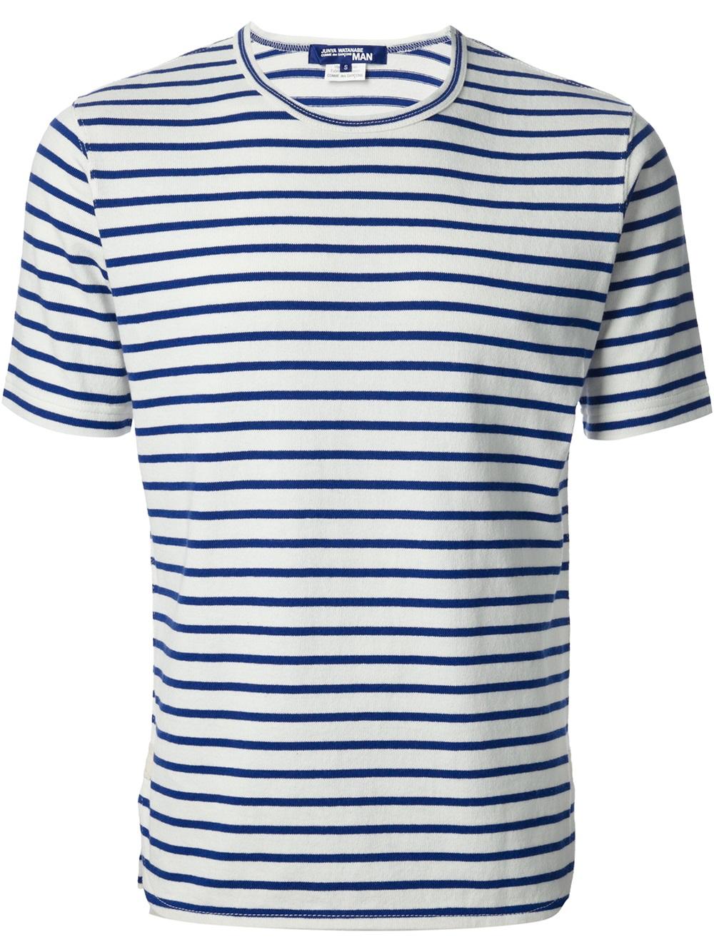 Lyst Junya Watanabe Striped Tshirt In Blue For Men