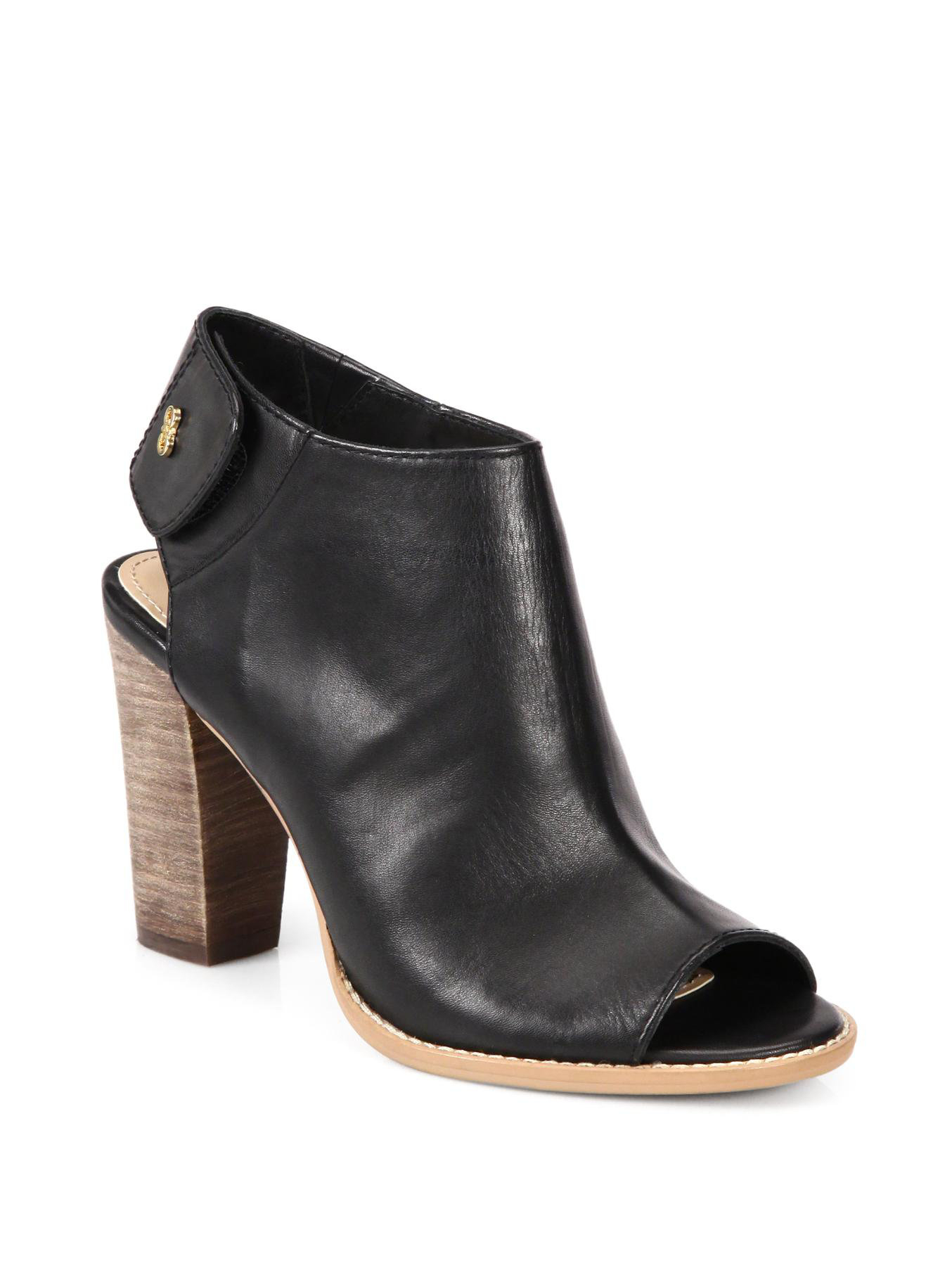 cole haan wrey leather open toe ankle boots in black lyst
