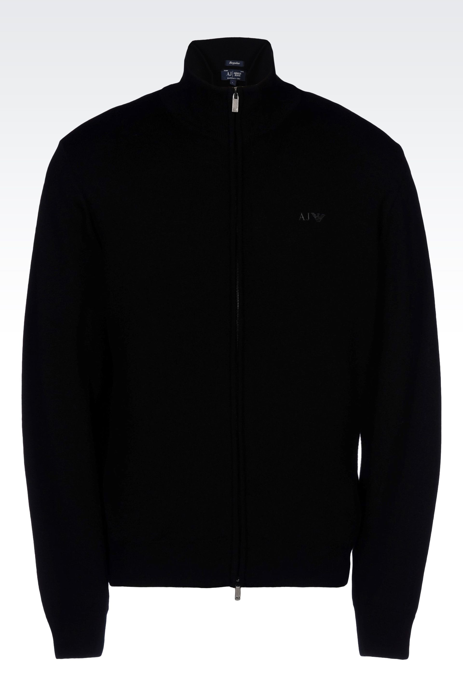 Armani Jeans Full Zip Cardigan In Virgin Wool In Black For Men Lyst