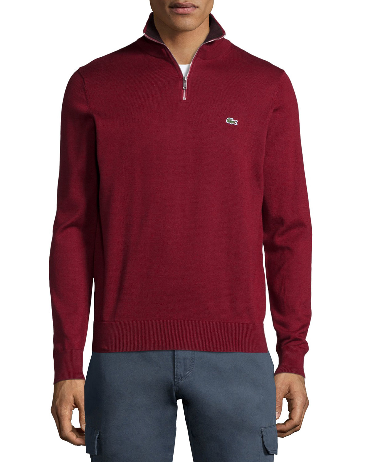 Lacoste Half-zip Knit Pullover Sweater in Red for Men | Lyst