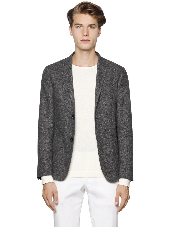 Z zegna Cotton & Linen Summer Tweed Blazer in Gray for Men | Lyst
