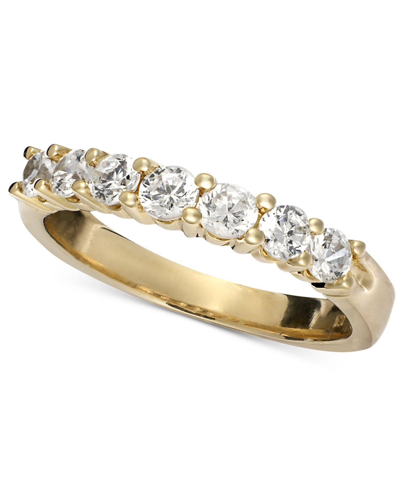 Macy's Seven Diamond Band Ring In 14k Yellow Or White Gold