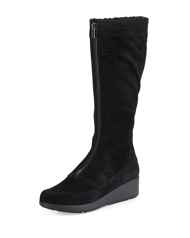 cole haan yonkers waterproof suede wedge boot in black lyst