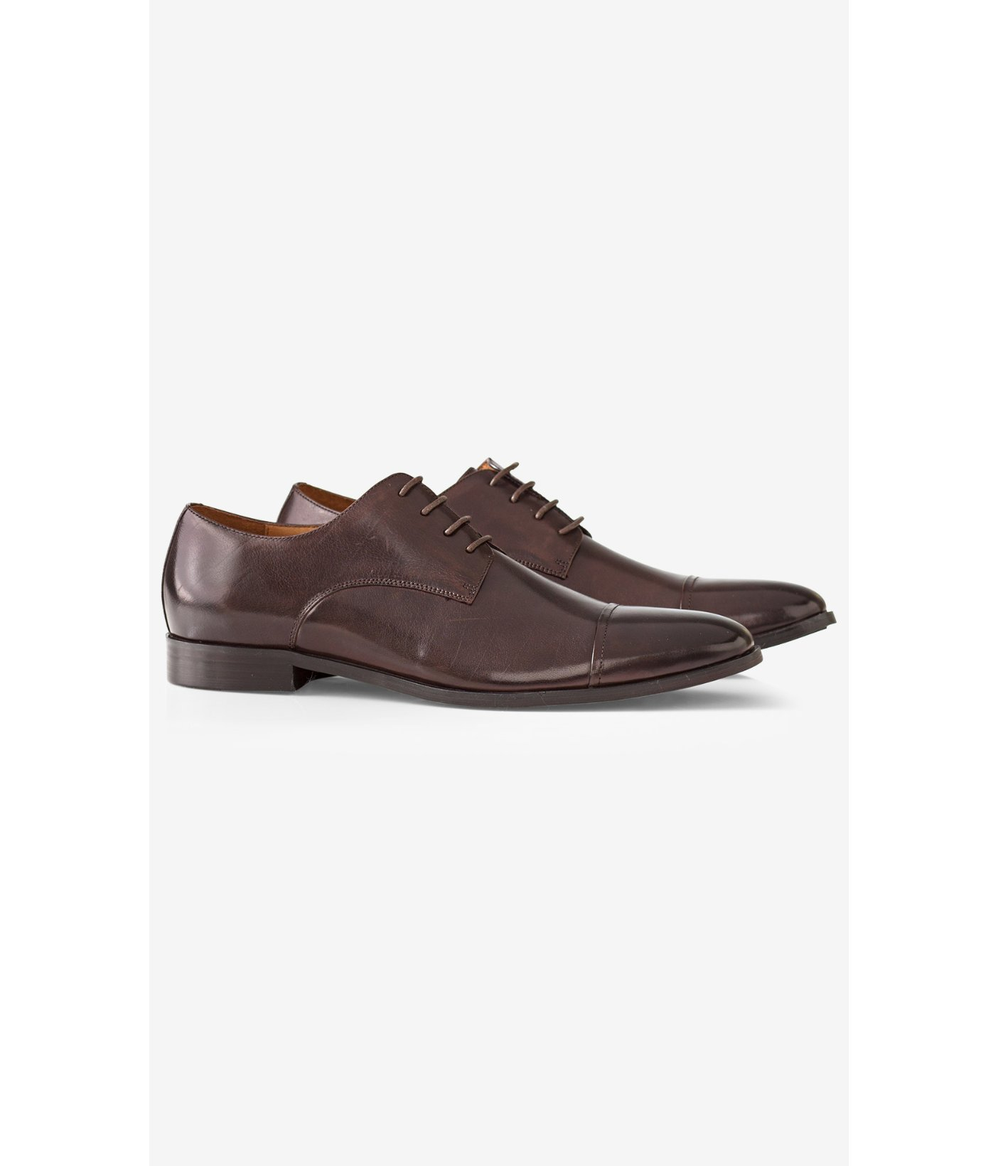 express leather cap toe oxford in brown for lyst
