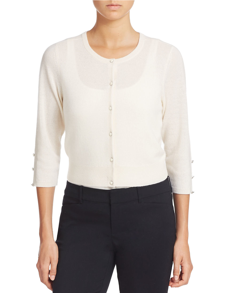 Lord & taylor Cropped Cashmere Cardigan in White | Lyst