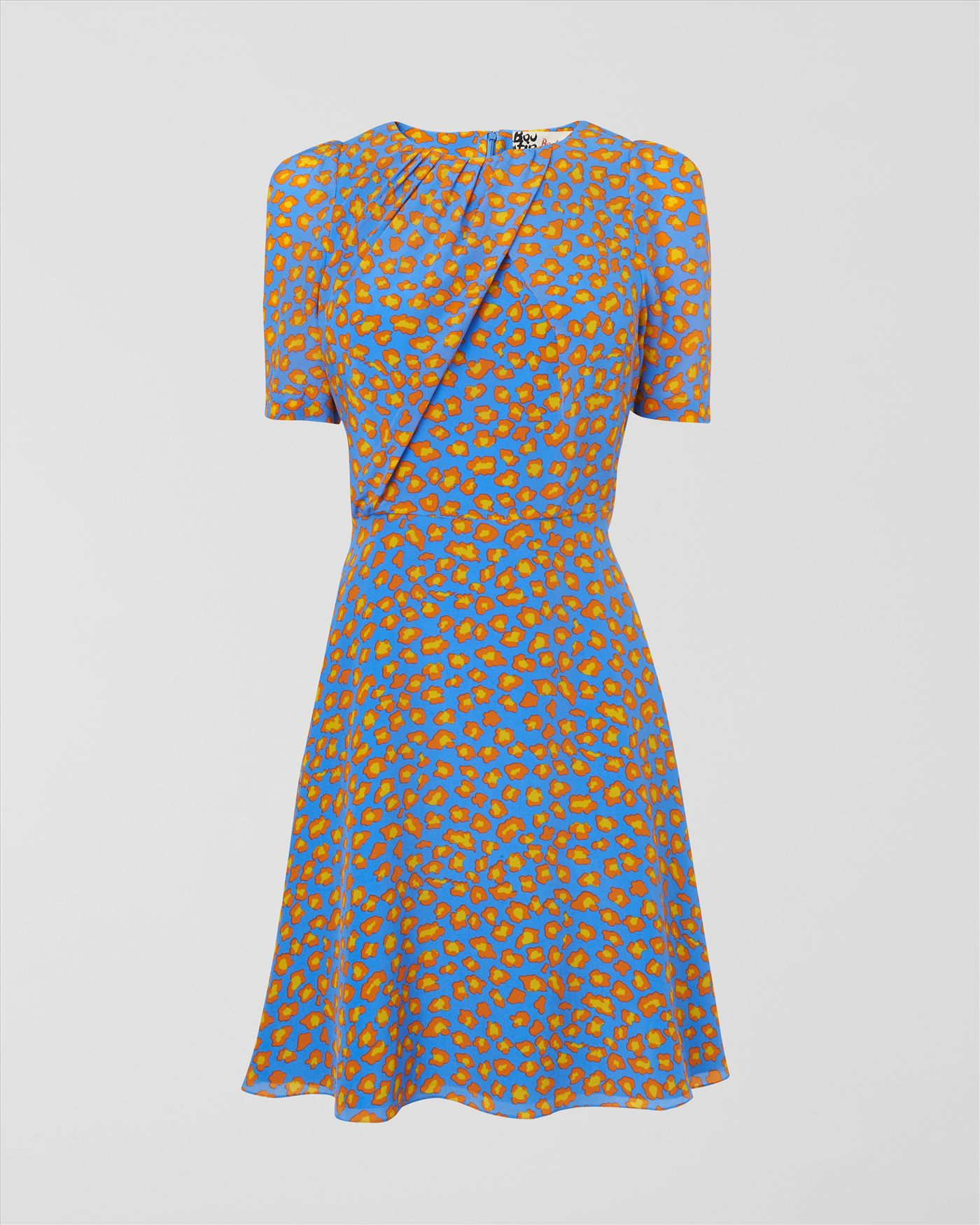 Lyst - Jaeger Leopard Print Silk Tea Dress in Blue 3eed7aed7