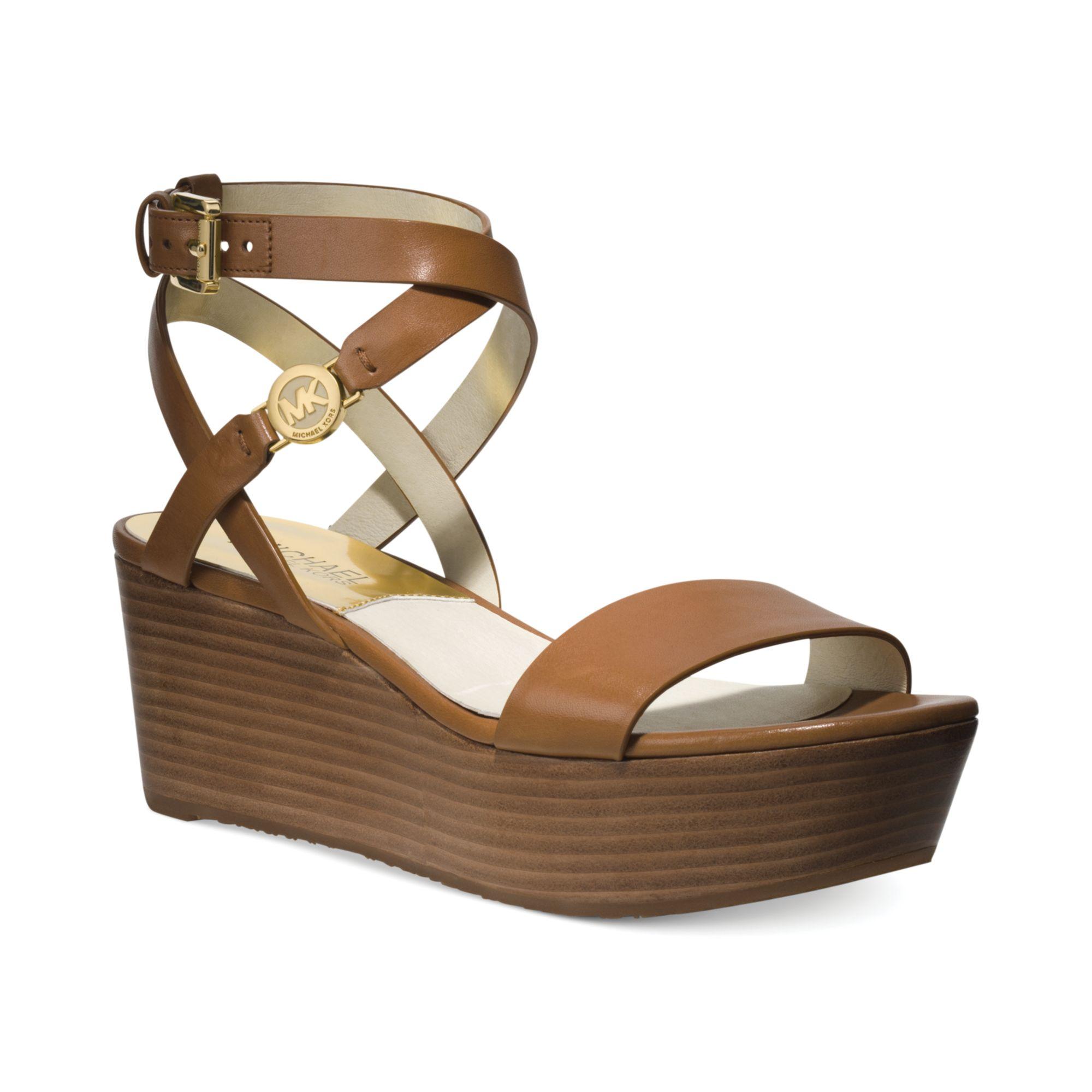 01162e900bd Michael Kors Michael Jalita Charm Platform Wedge Sandals in Brown - Lyst