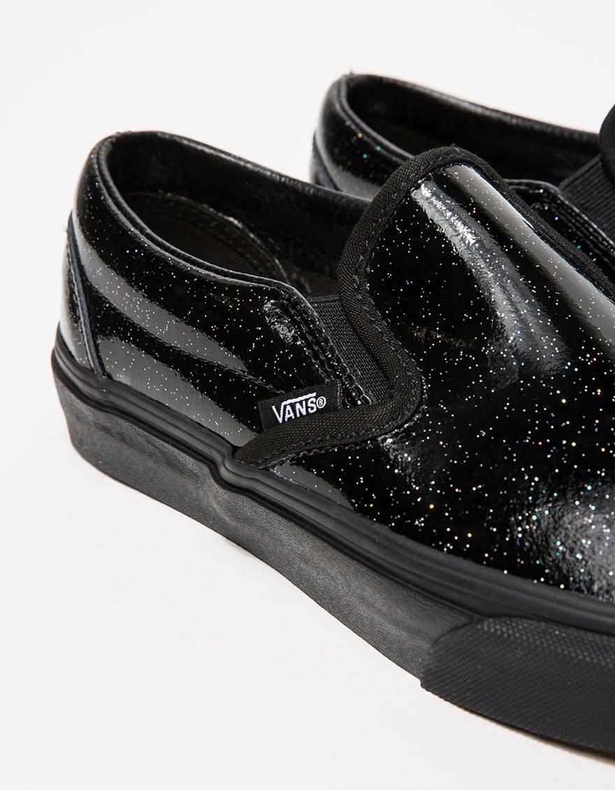 black patent leather slip on vans