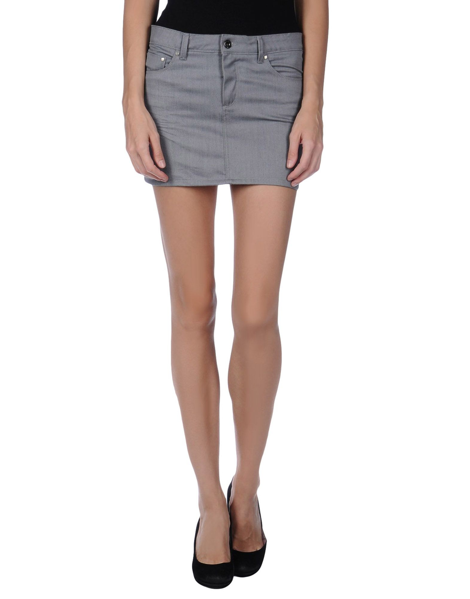costume national denim skirt in gray grey lyst