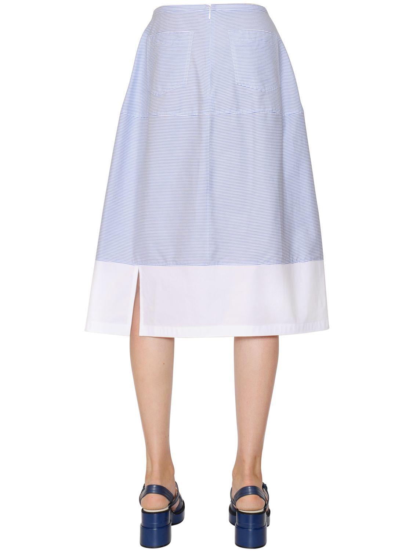 jil sander navy striped cotton poplin skirt in blue blue