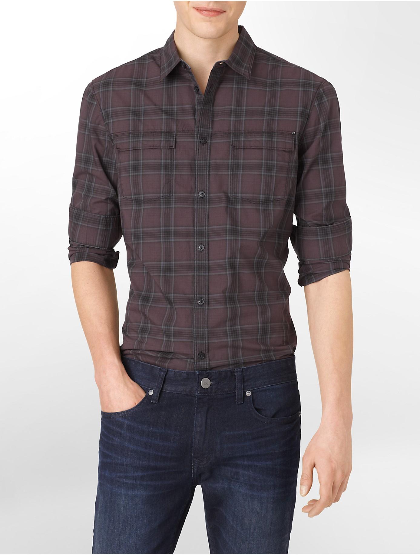 Calvin klein slim fit plaid double pocket cotton shirt in for Calvin klein slim fit stretch shirt