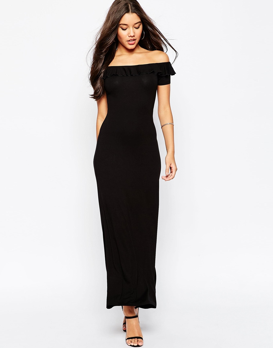 Asos Off Shoulder Maxi Dress With Ruffle in Black | Lyst
