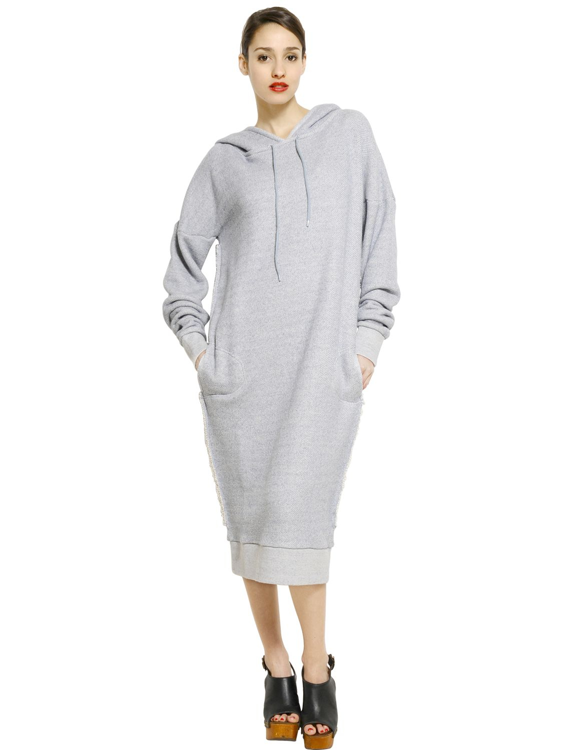 Mes Demoiselles Hooded Cotton Fleece Sweatshirt Dress in Blue - Lyst b23cae301e