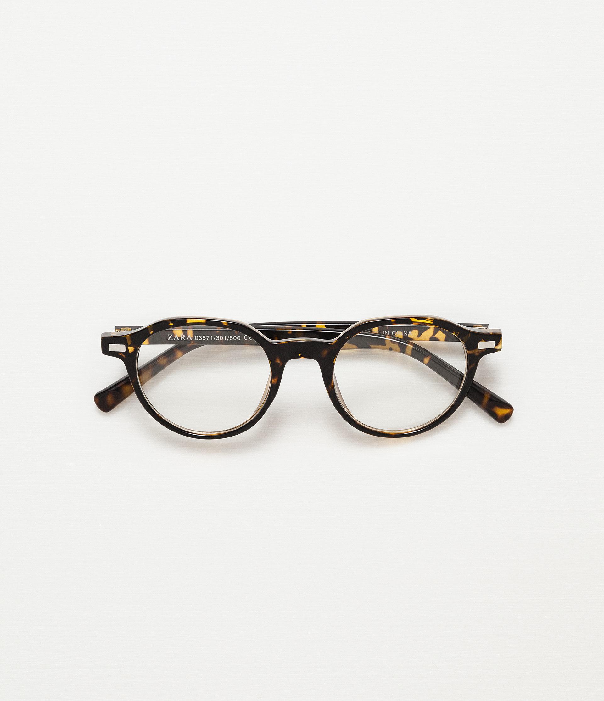 Zara Glasses Frames : Zara Round Tortoiseshell Sunglasses in Black for Men Lyst