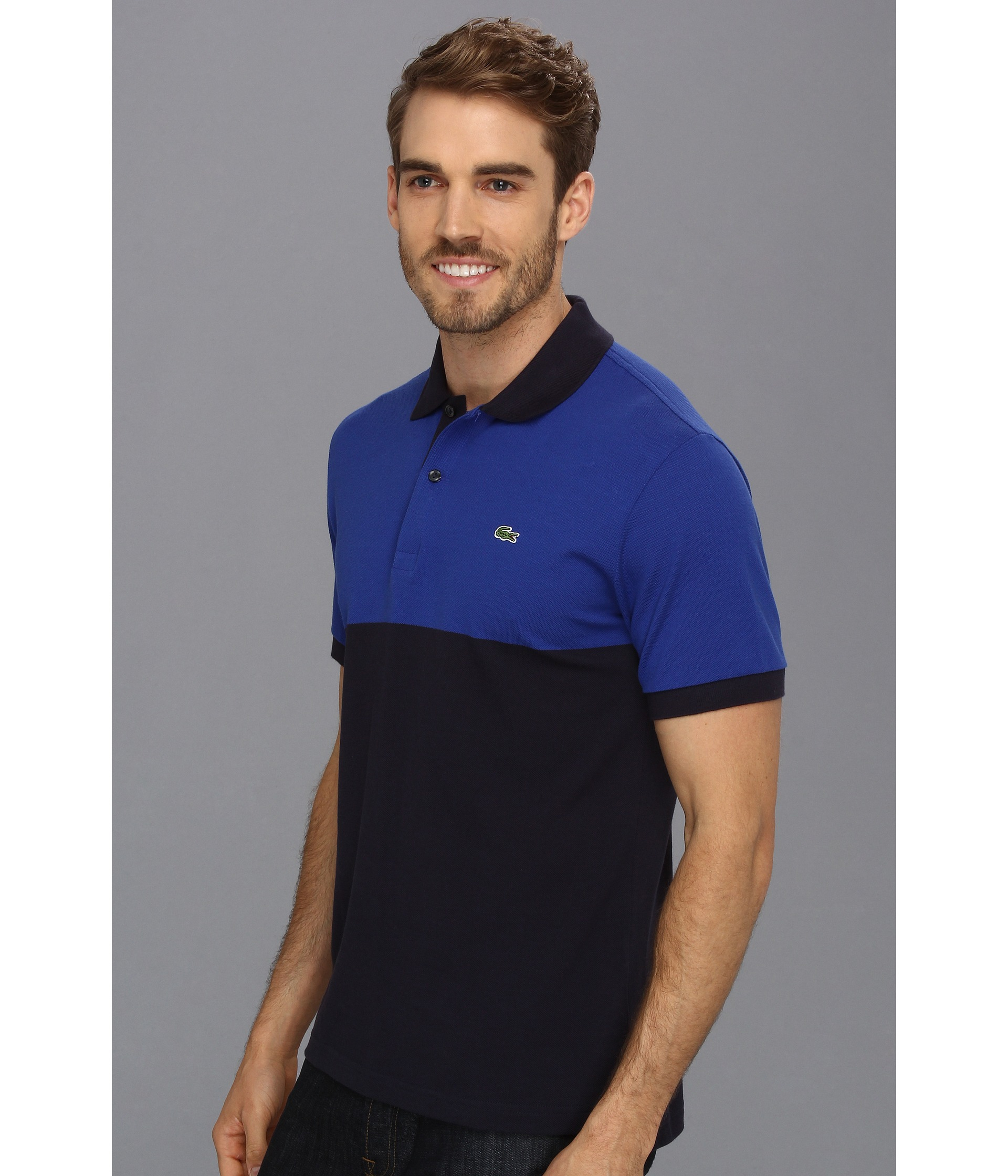 59ed2b8f Lacoste Short Sleeve Color Block Pique Polo Shirt | Top Mode Depot