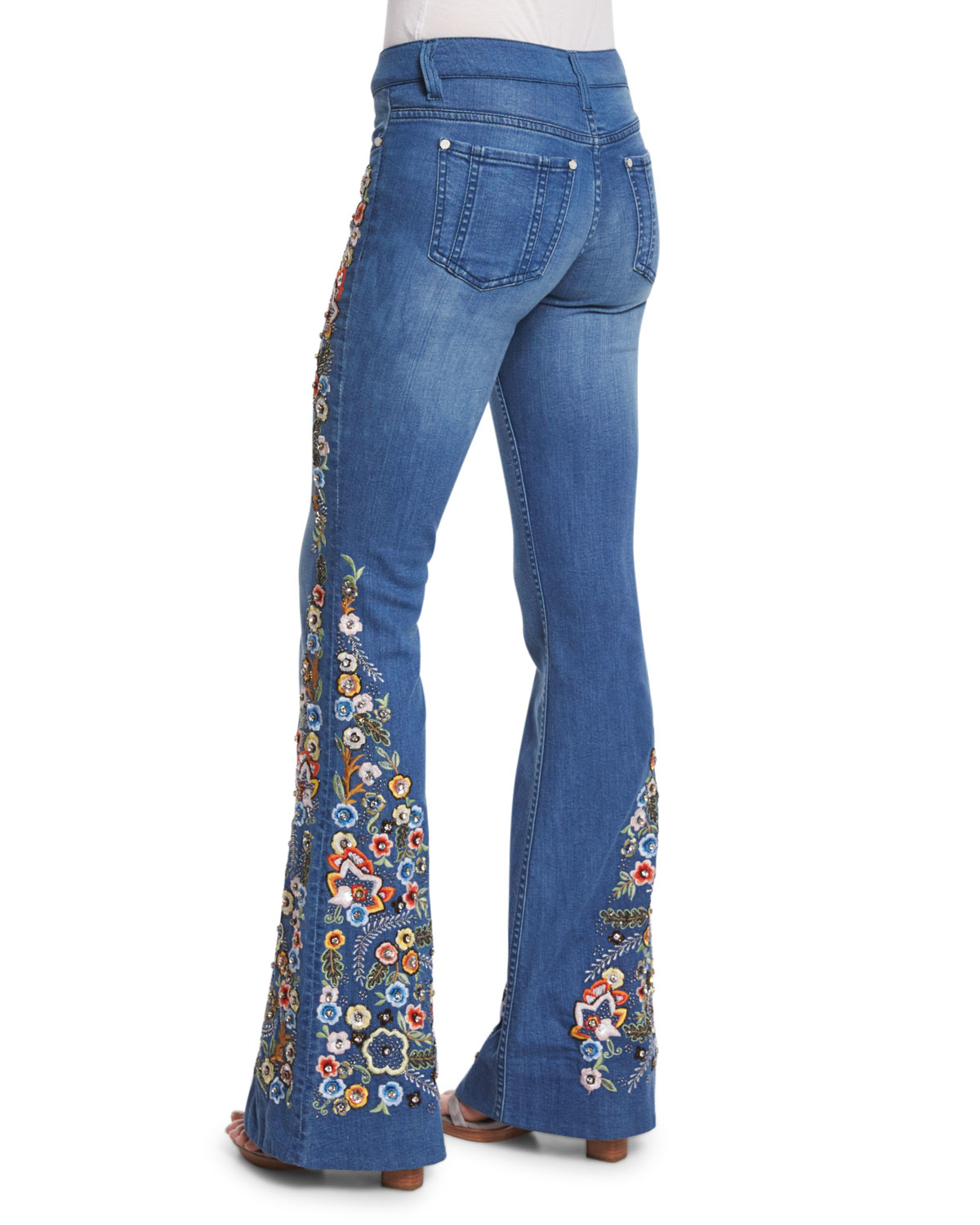 Alice  Olivia Ryley Embroidered Flare Jeans In Blue  Lyst