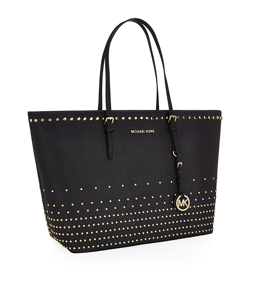 michael michael kors medium studded jet set tote in black lyst. Black Bedroom Furniture Sets. Home Design Ideas