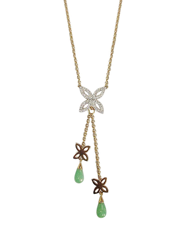 Amazona Secrets 18kt Gold Uvaia Leaf Little Fruit Necklace With Freshwater Pearl & Yellow Jade SJc4G4