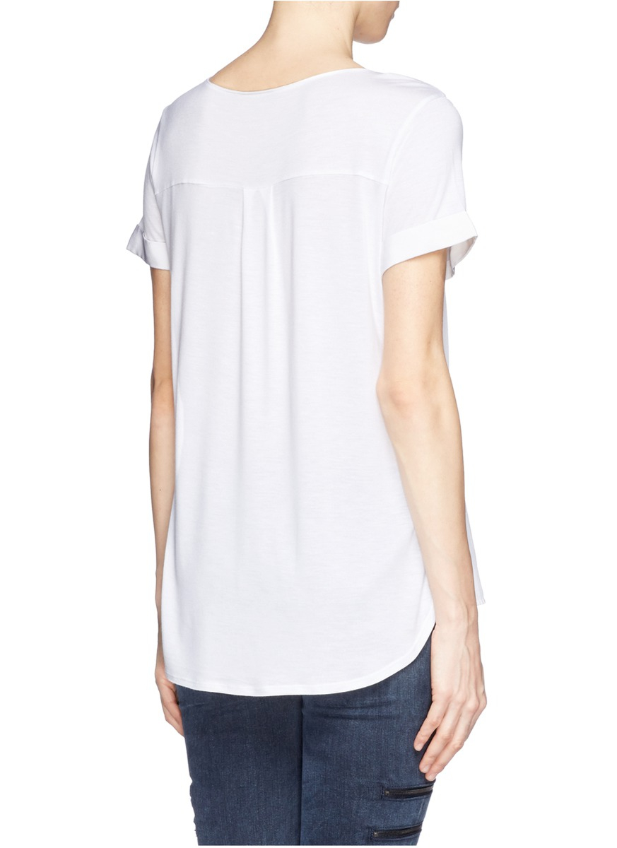 vince silk front jersey t shirt in white lyst