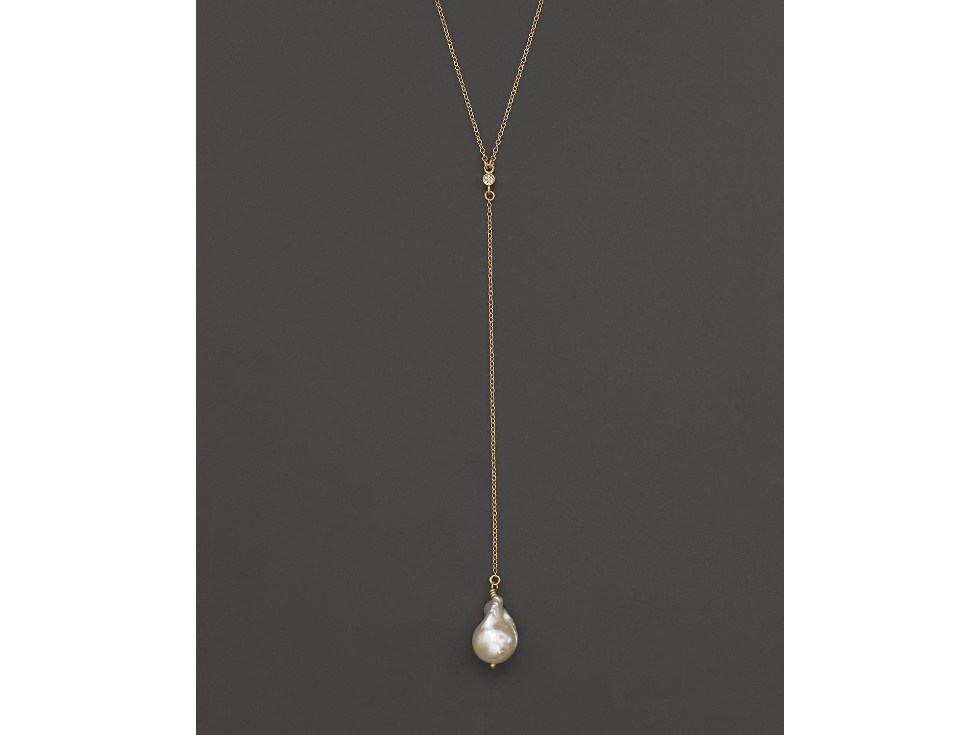 Mizuki 14k Pearl & Diamond Y-Drop Necklace eqQfZ8dwCY