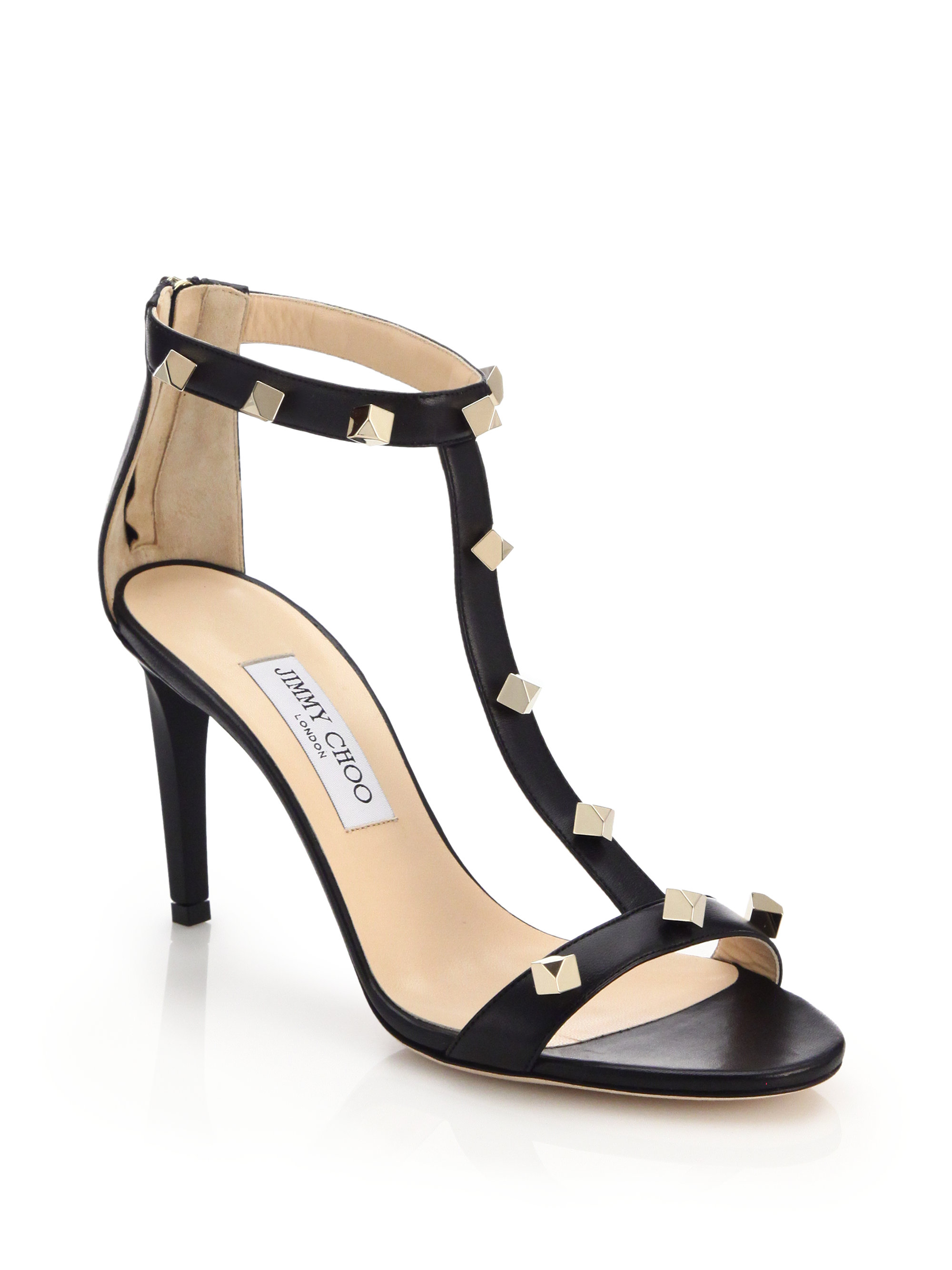 199af655060 Lyst - Jimmy Choo Lamba Studded Leather Sandals in Black