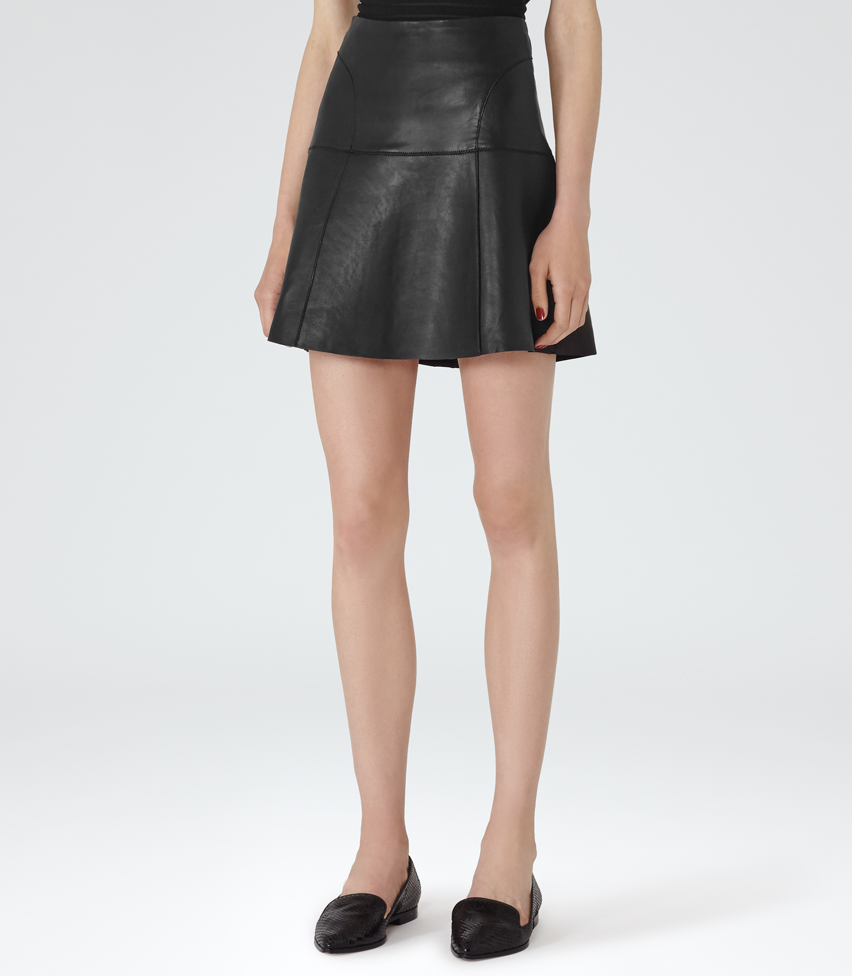 Reiss Cheya Leather A-line Mini Skirt in Black | Lyst