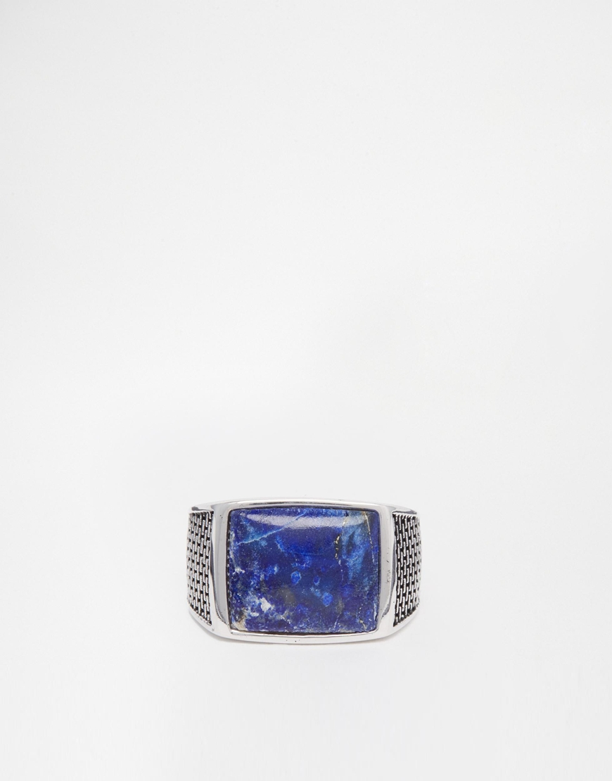 Seven london Sterling Silver Blue Stone Ring in Blue for ... Silver Rings For Men With Blue Stone