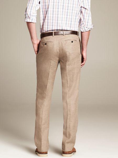 Popular Elie Tahari Bennet Stretch Linen Pants In Khaki For Men Sahara Khaki