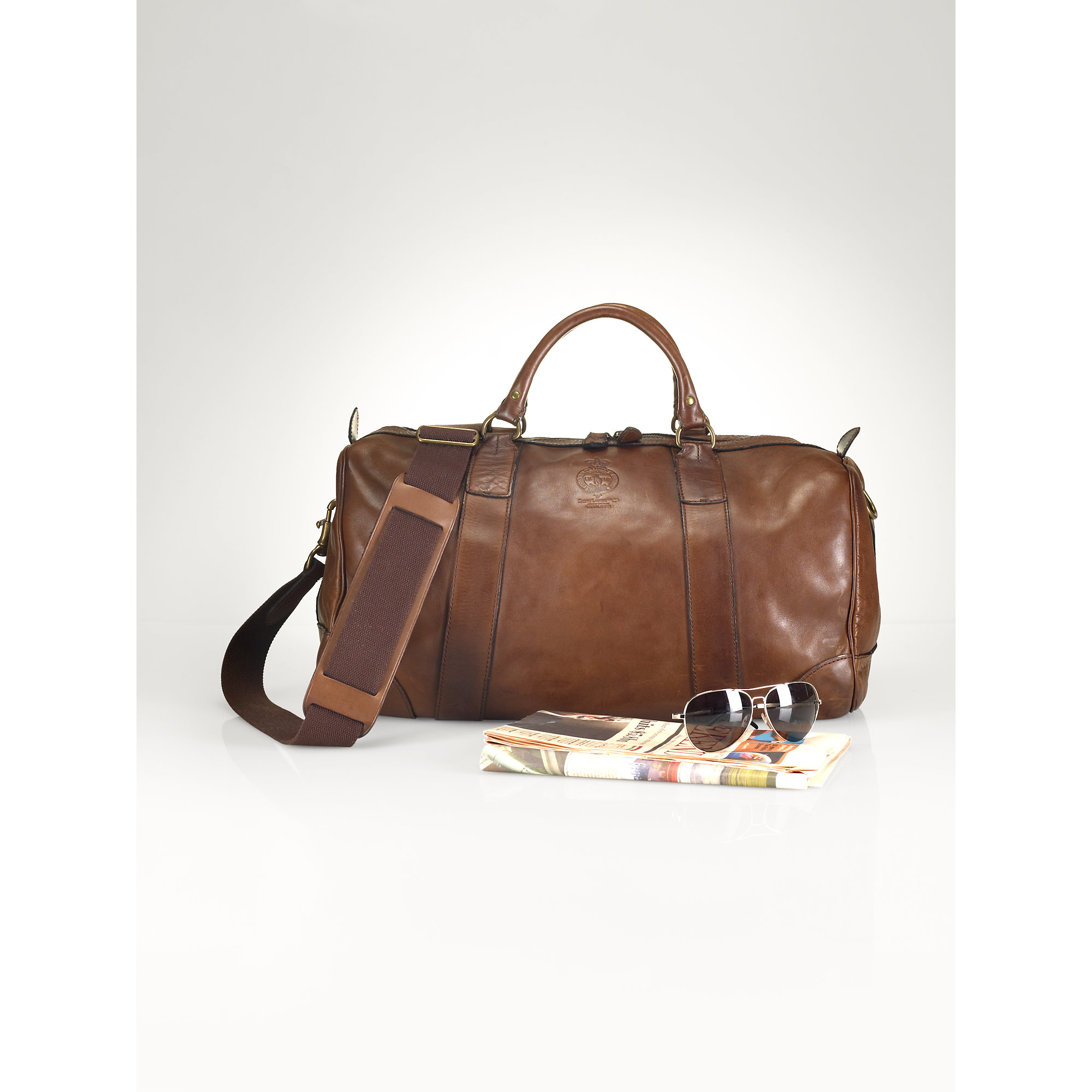 1f28d5a4295c ... usa lyst polo ralph lauren leather duffel bag in brown for men b3935  1a7ca cheap camo ...
