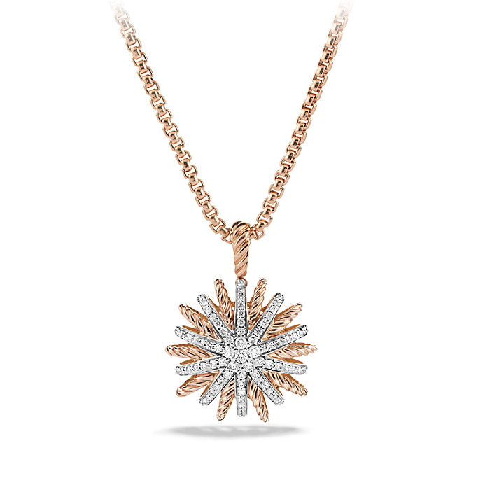 David Yurman Starburst Pendant Necklace With Diamonds In