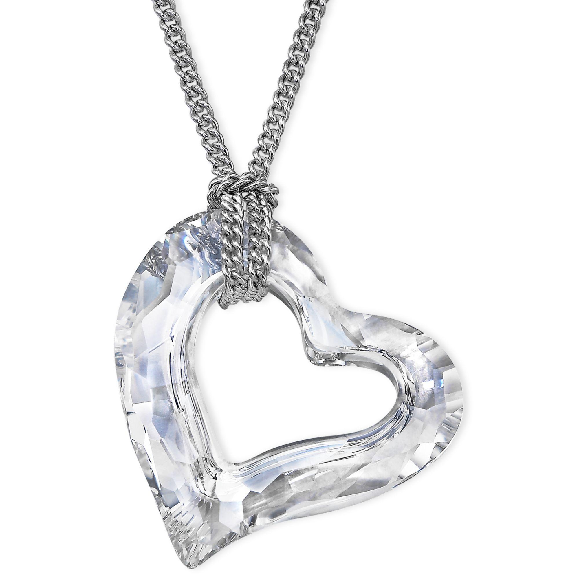 Lyst swarovski rhodiumplated crystal loveheart pendant in metallic gallery mozeypictures Gallery