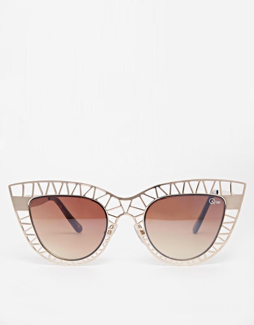 077c45a00d ... Lyst Quay Steel Cat Cut Out Cat Eye Sunglasses in Metallic