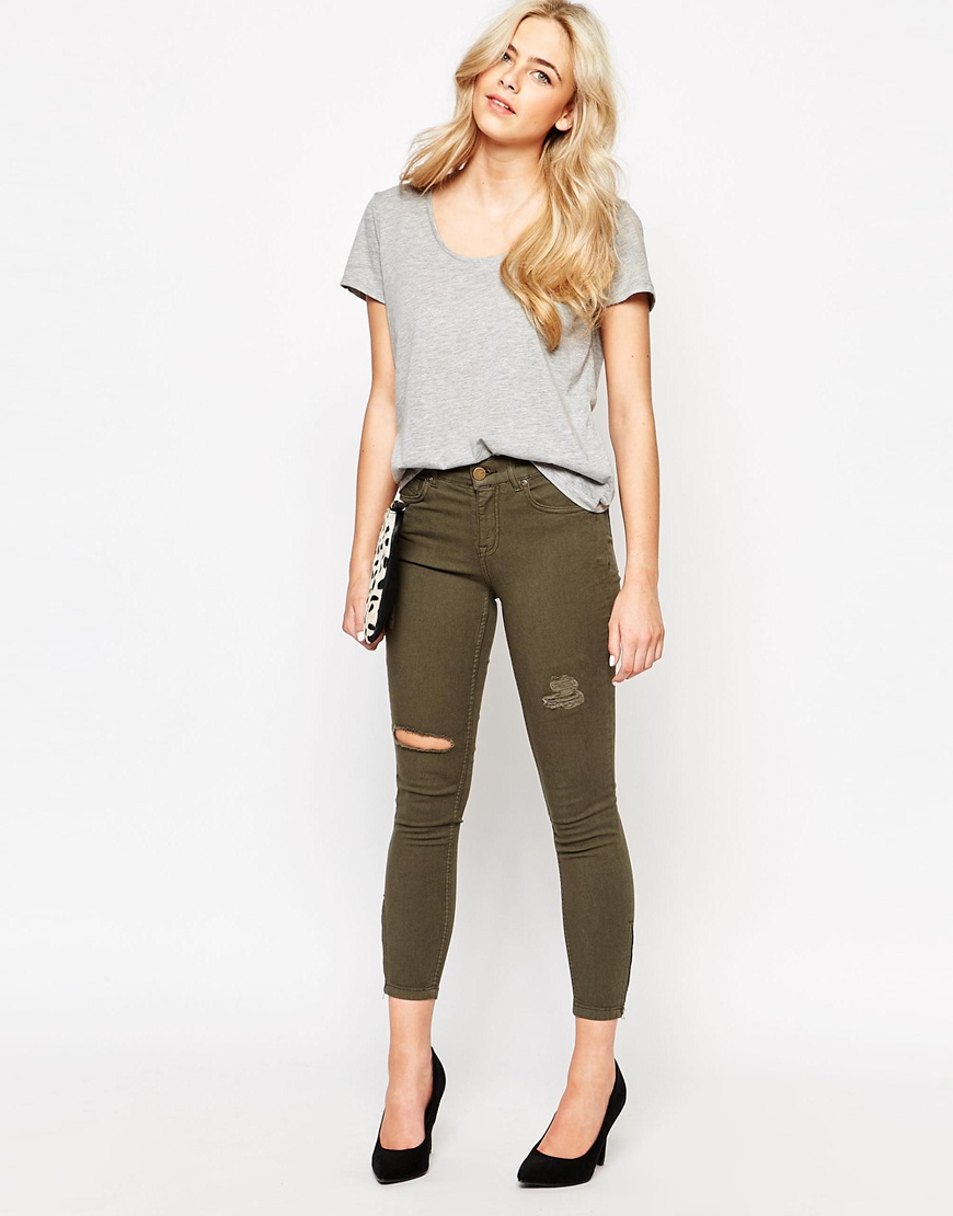 Oasis Ripped Cropped Jean in Natural | Lyst