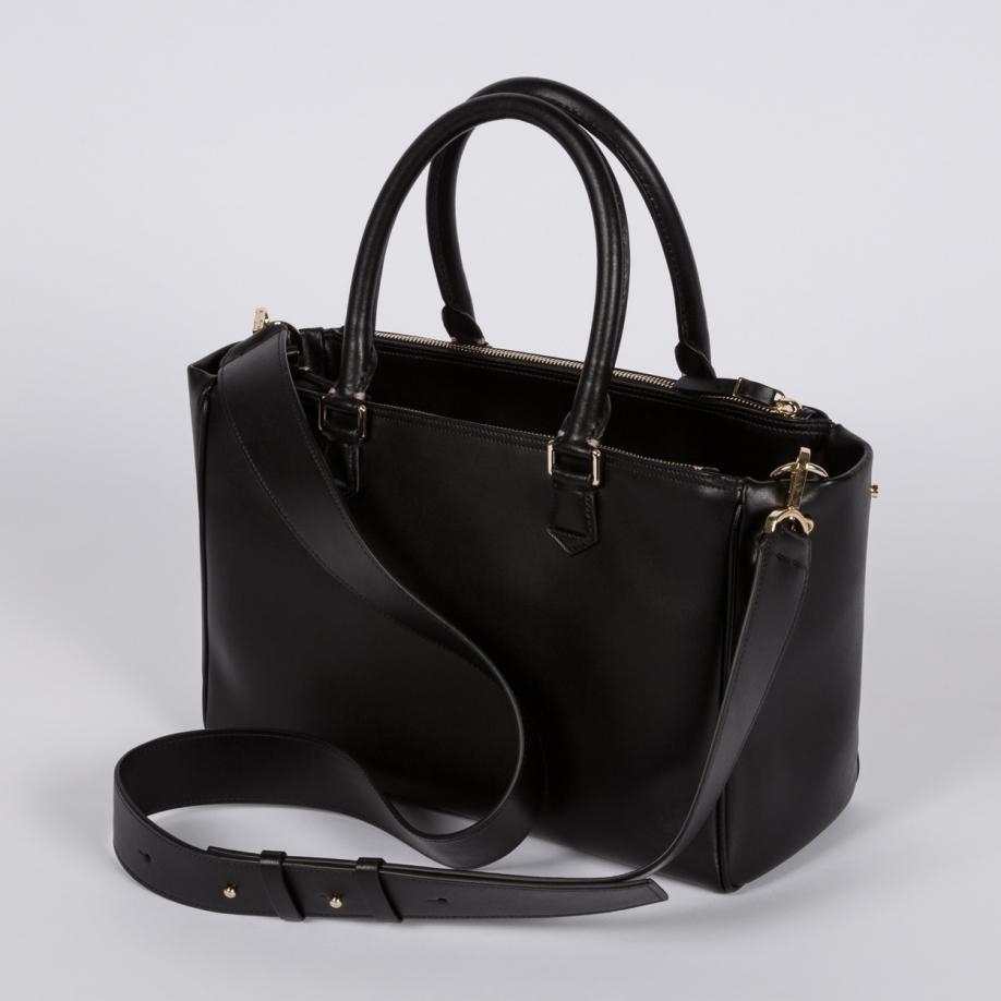 02caf4e051384 Lyst - Paul Smith Women s Small Black Italian Calf Leather Double ...