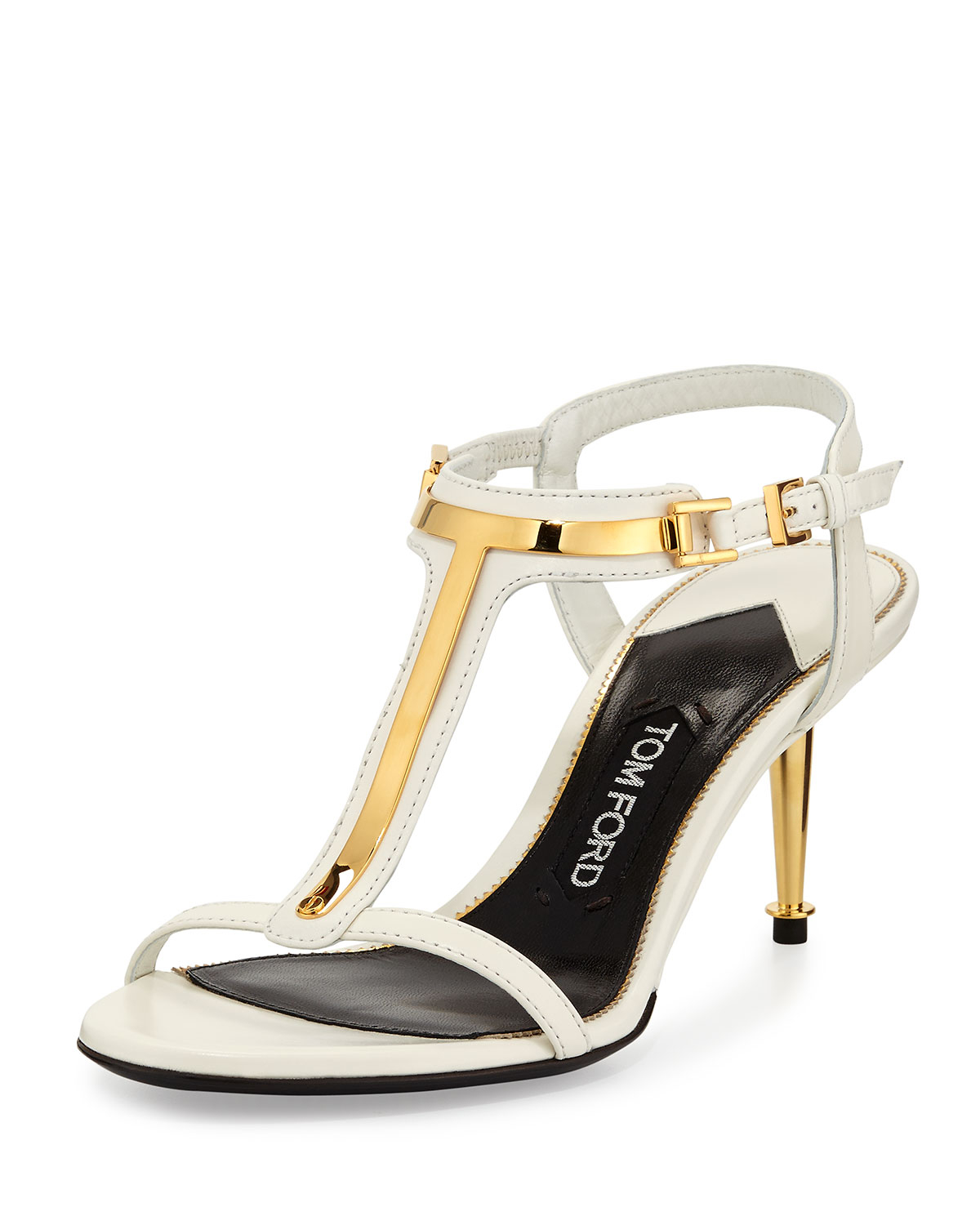 53e181ff48 Tom Ford Leather T-bar Sandal in White - Lyst
