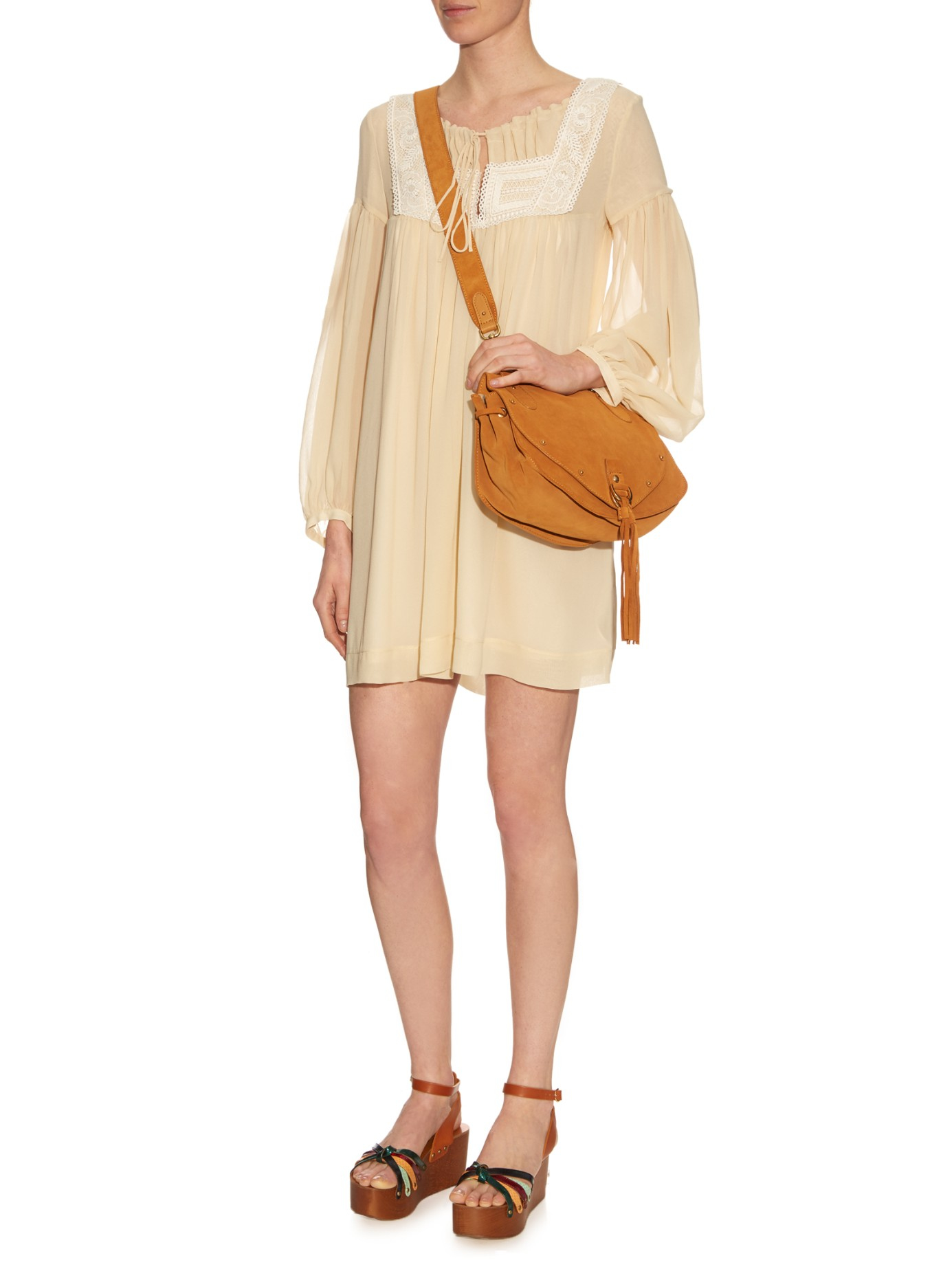 d87027fb9f14 Lyst - See By Chloé Collins Leather And Suede Cross-body Bag in Brown