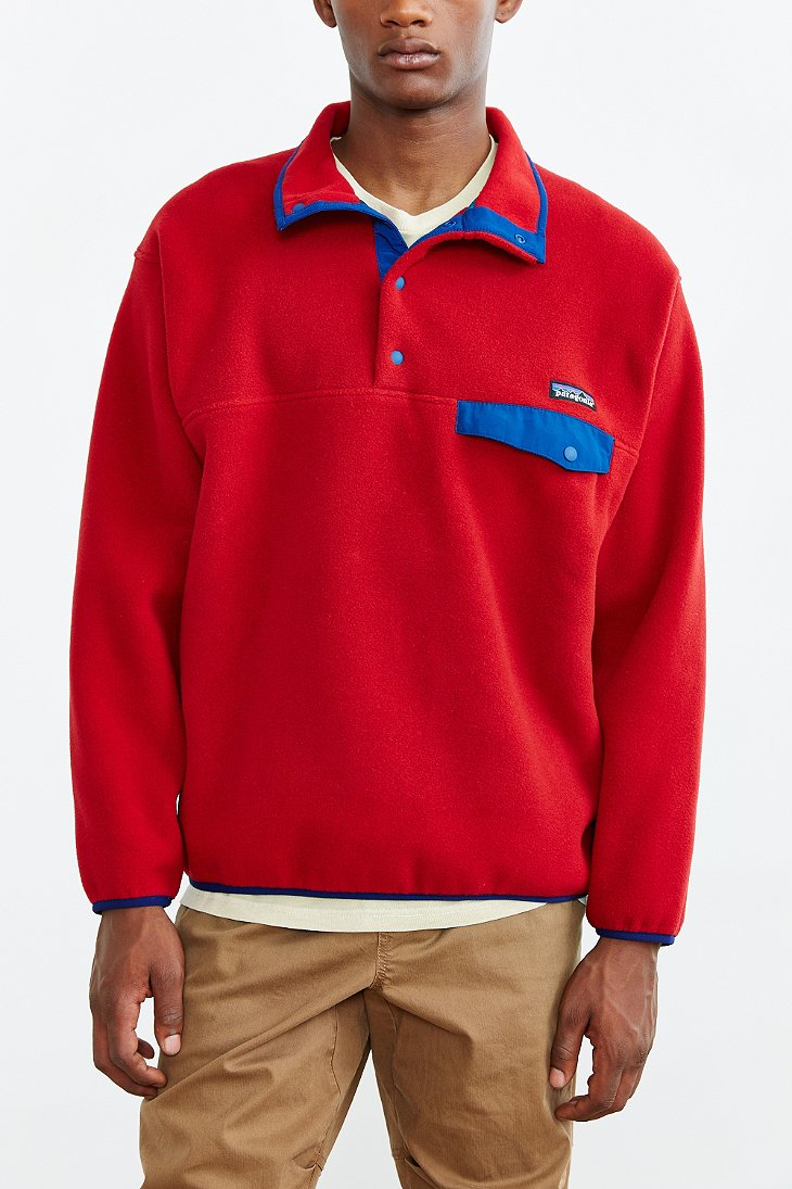 Patagonia Synchilla Snap-t Fleece Pullover Jacket in Red | Lyst