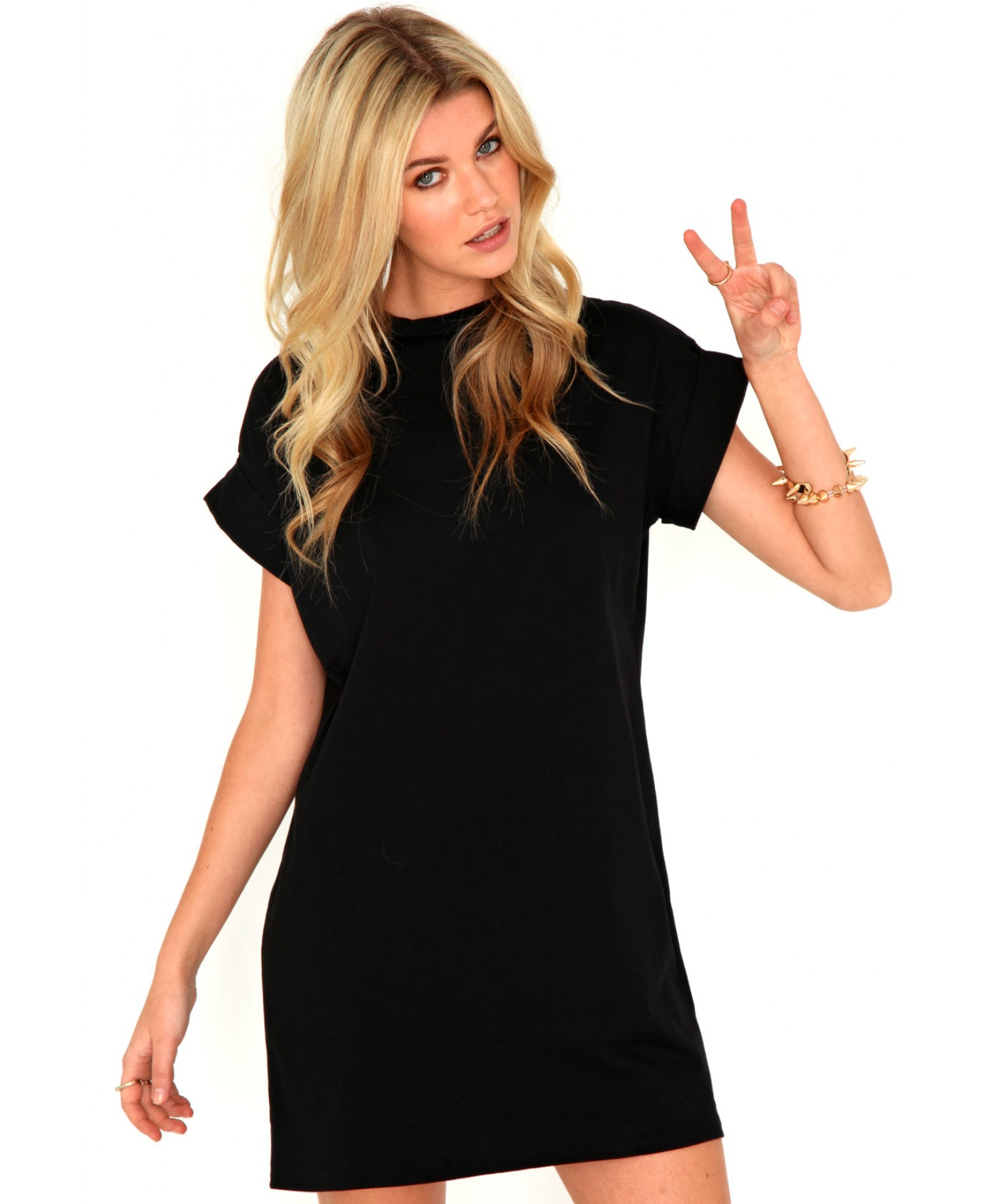 5e601a3db8f6 Lyst - Missguided Davina Oversized T-Shirt Dress In Black in Black