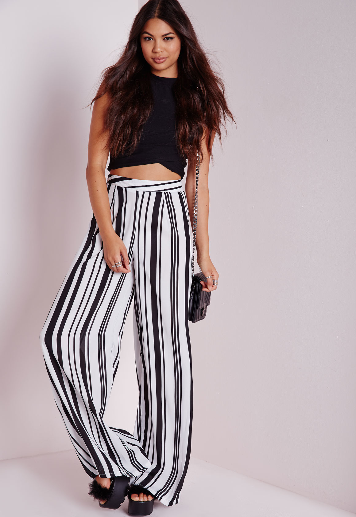 Missguided Tall Striped Wide Leg Pants Monochrome in Black   Lyst
