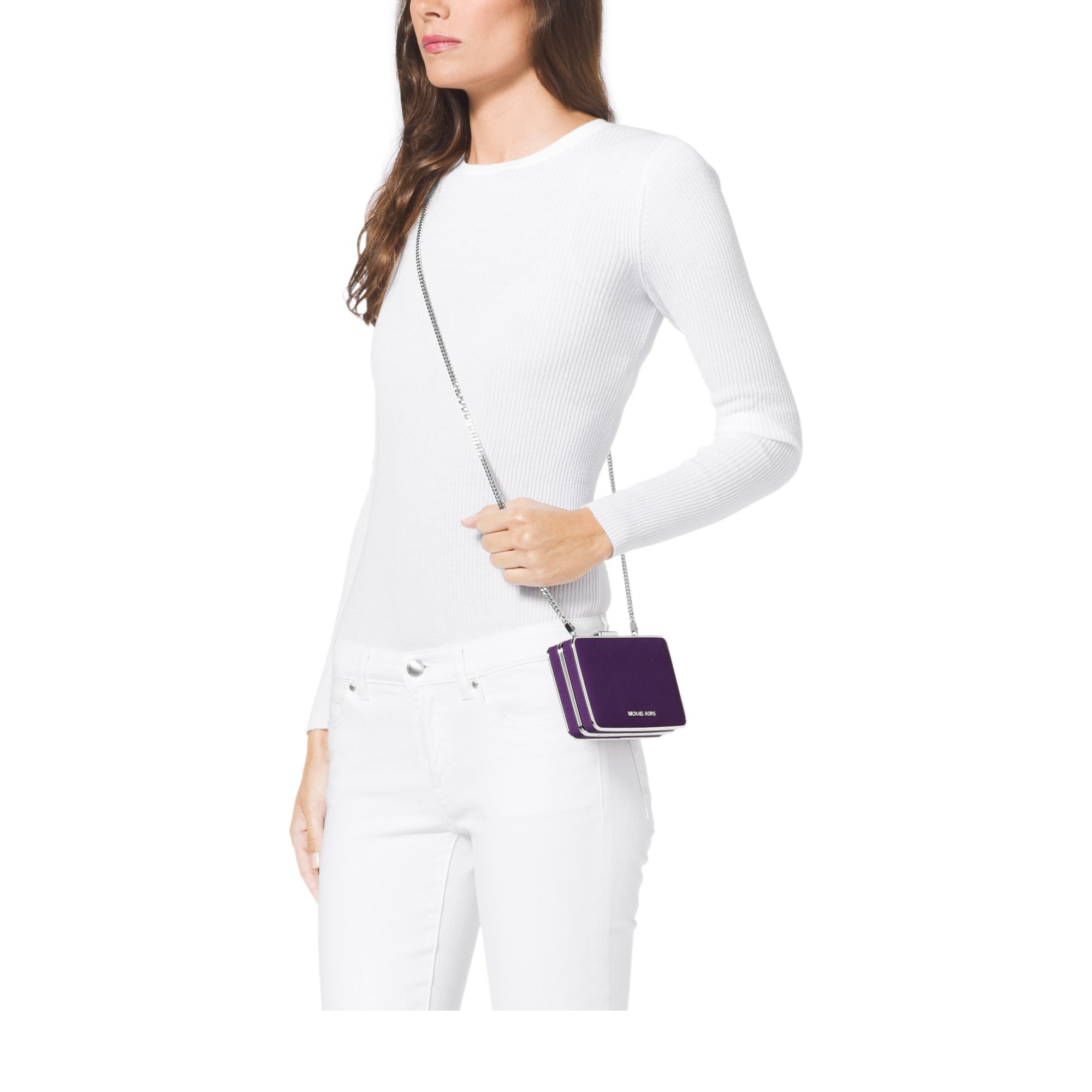 3fd0797a4636 Lyst Michael Kors Elsie Saffiano Leather Box Clutch In Purple. Michael Kors  Tina Wallet Clutch Crossbody Damson